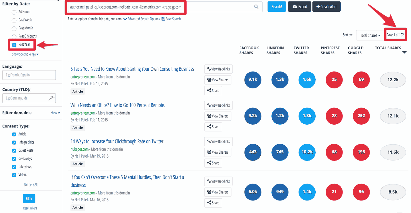 Buzzsumo: guest posts by Neil Patel