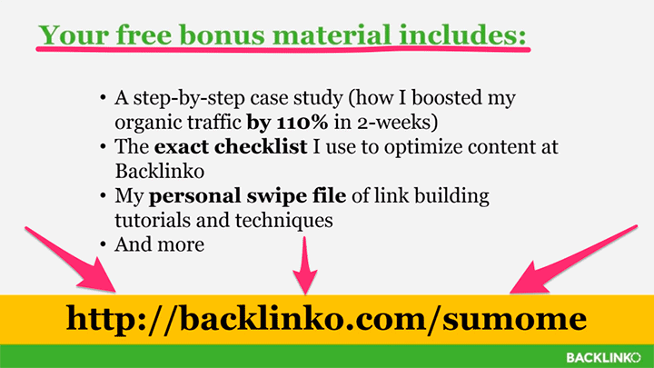 free bonus material from backlinko