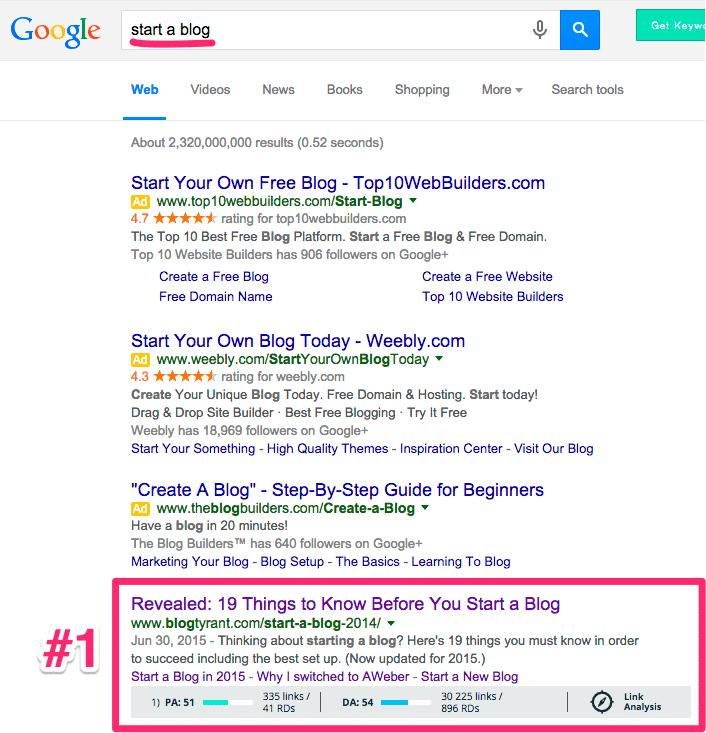 start a blog google