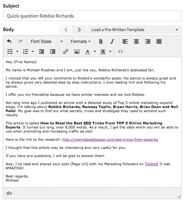 Ninja Outreach email template
