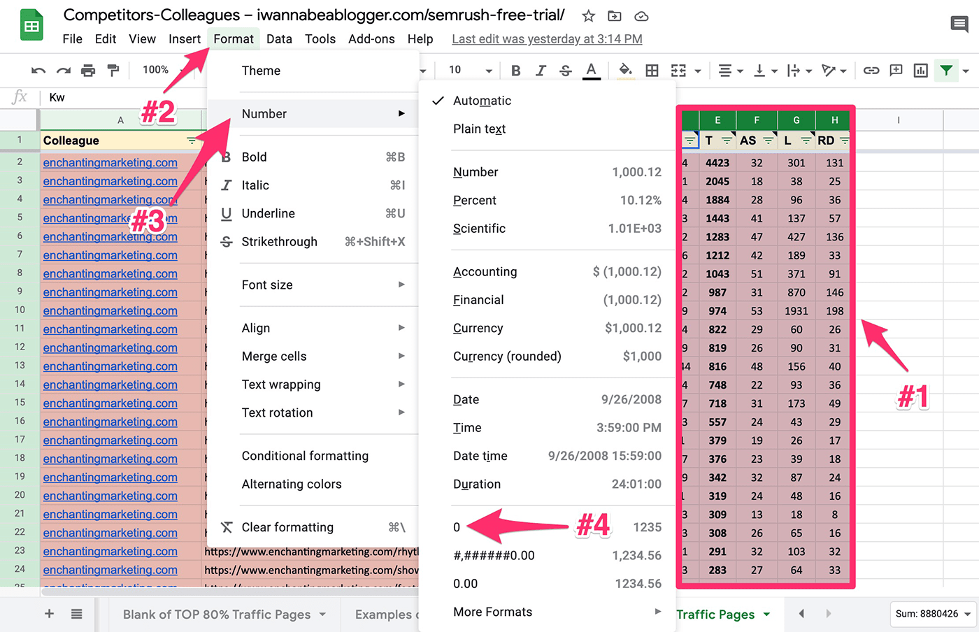 changing the format of all numbers in google sheets