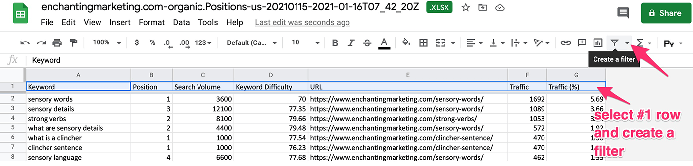 creating filter in google sheets