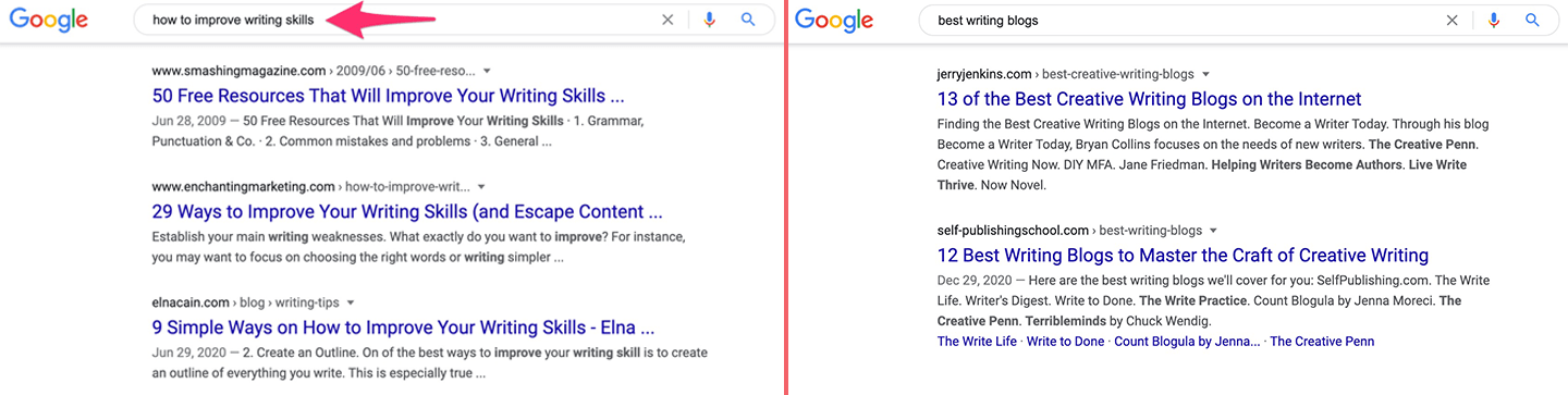 Google results on how to improve writing skills and best writing blogs