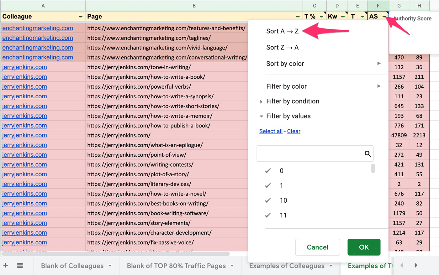 sorting competitors by Authority Score in google sheets