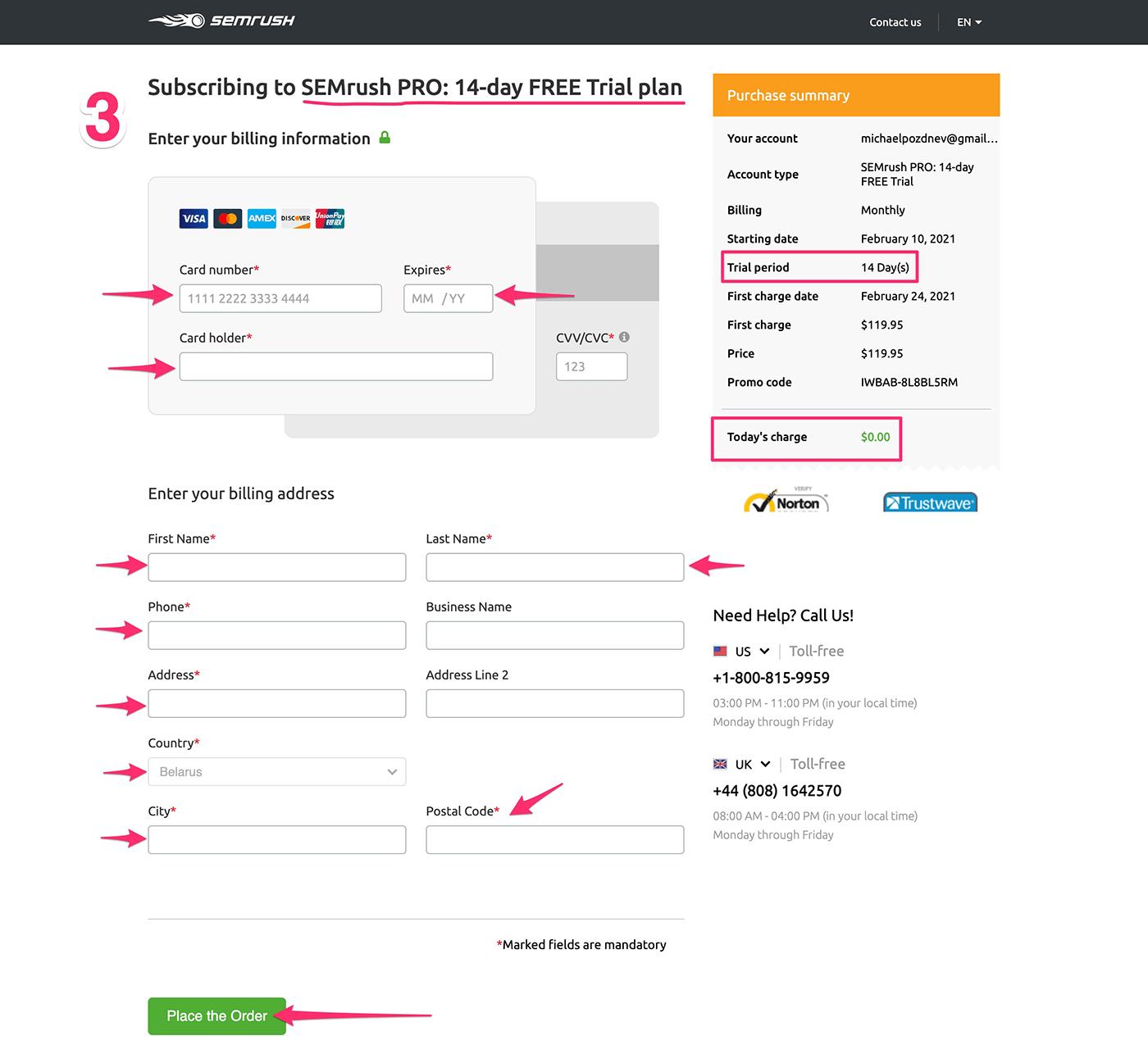 entering billing information into Semrush